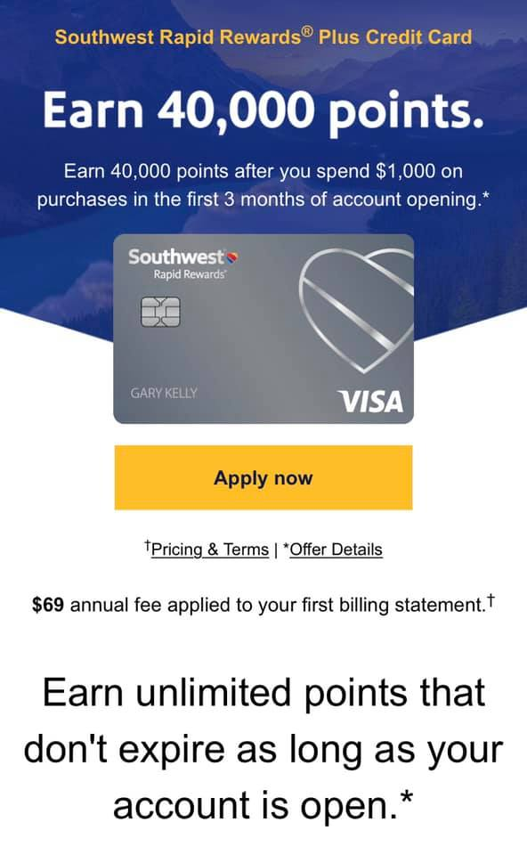 Southwest credit card information and perks