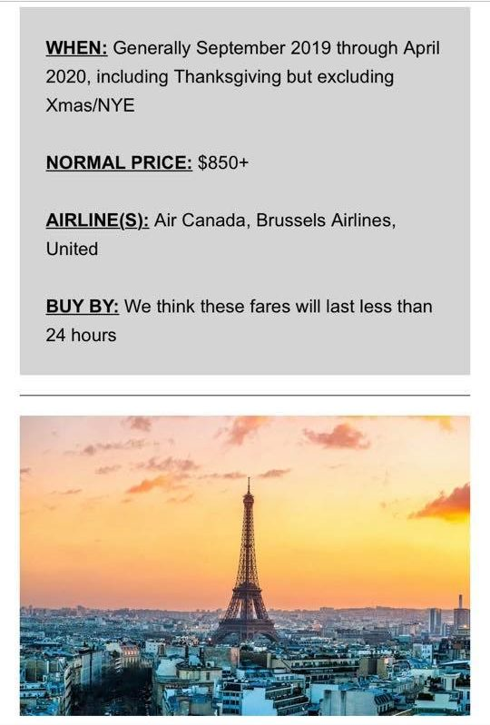 Sample of Scott's Cheap Flights email showing the normal price of airfare compared to the sale price and how long the deal is expected to last