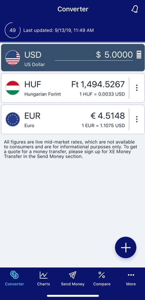 Screenshot of XE currency app showing USD currency amount compared to HUF and euros