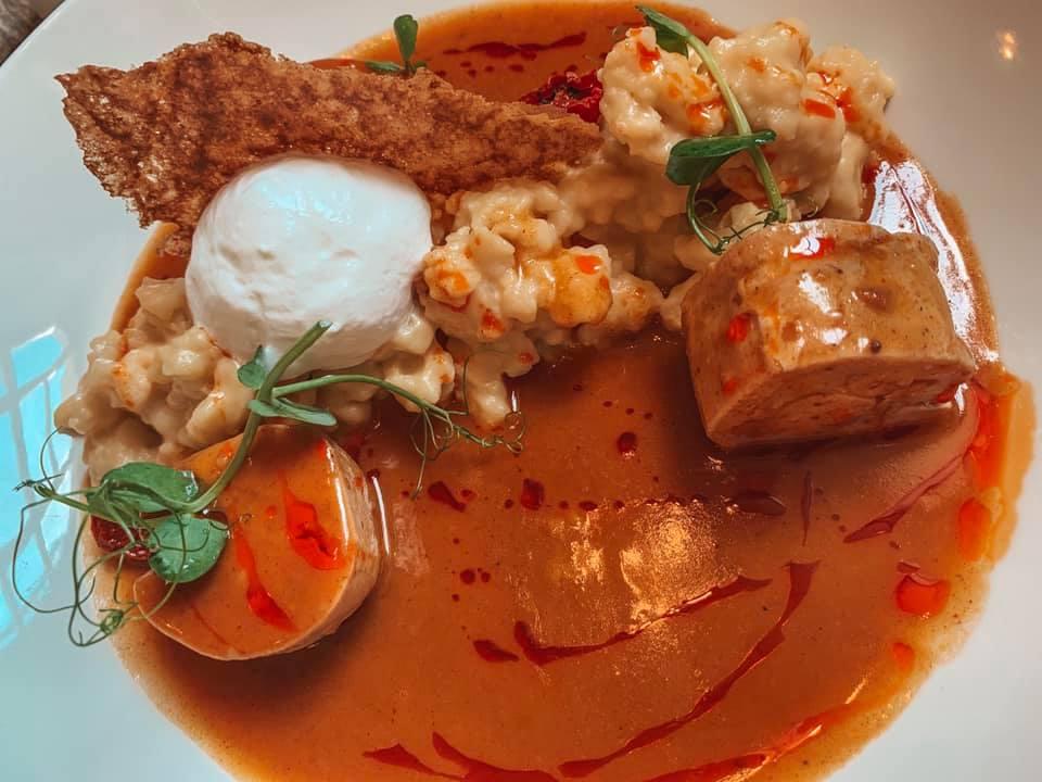 elegantly plated chicken paprika