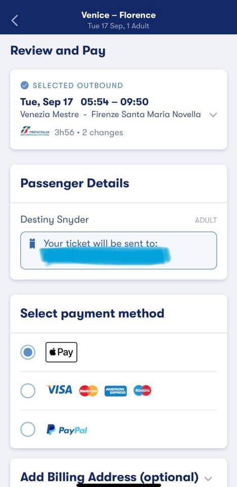 screenshot of omio app showing passenger detail screen