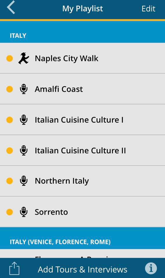 screenshot of rick steves audio tour app showing tour options available for download