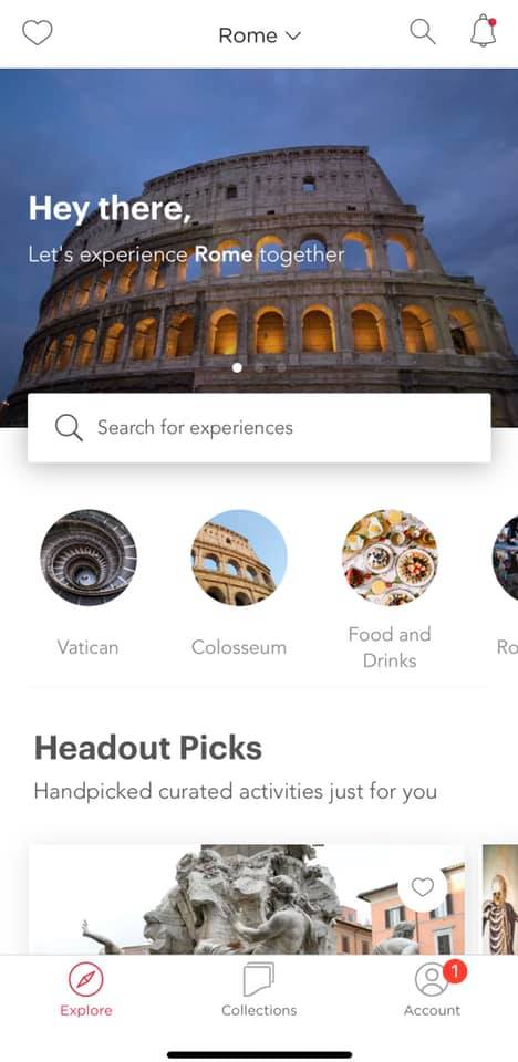 screenshot of headout app showing how the categories appear