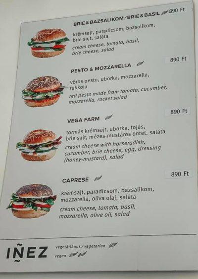 menu from Inez bagels in Hungary