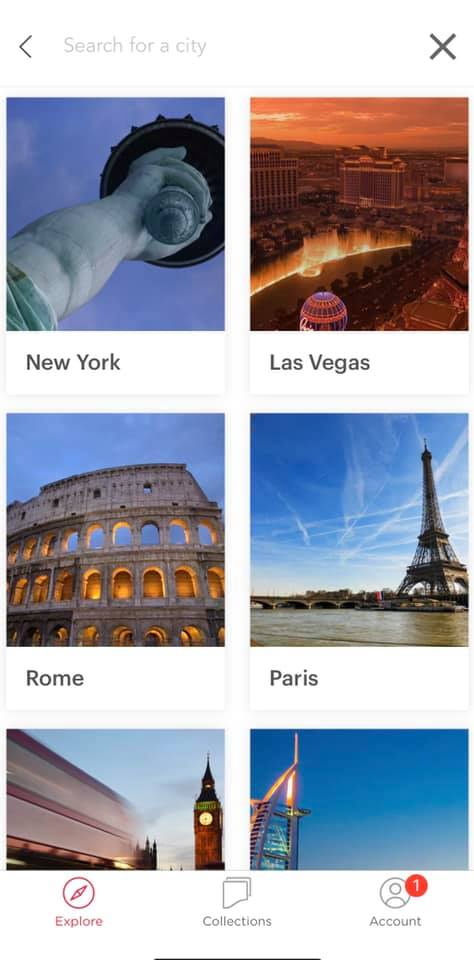 screenshot of headout app showing how to search for the city you want
