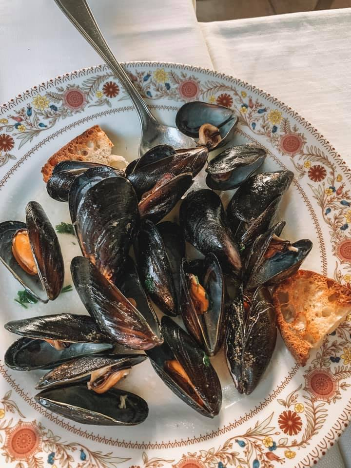 Cooked mussels plated with some toasted points
