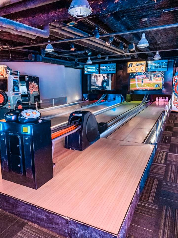 a chic looking bowling alley