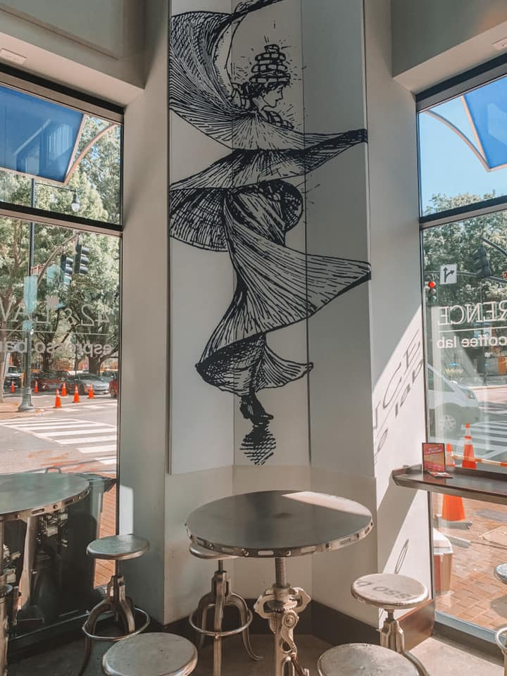 inside of coffee drinking spot in downtown Raleigh