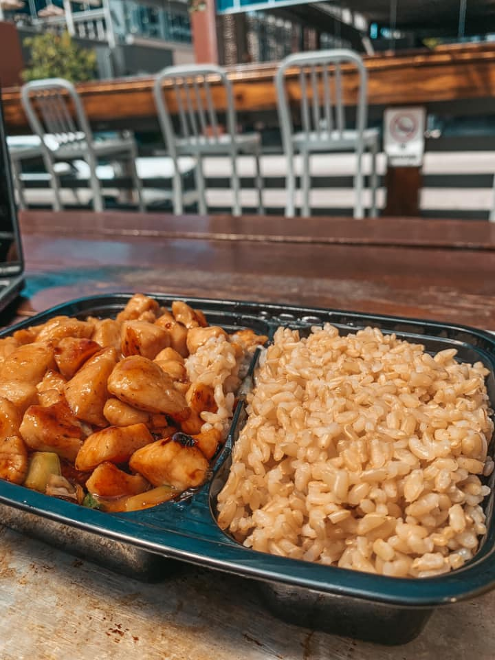 chicken hibachi with rice at outdoor patio seating