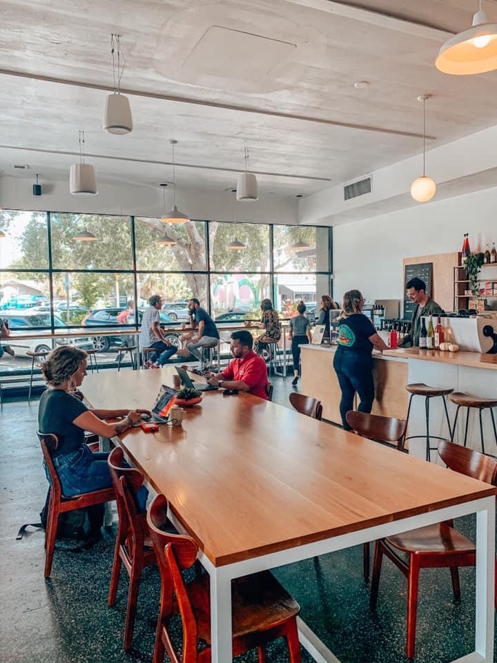 Seating area inside Bandit Coffee