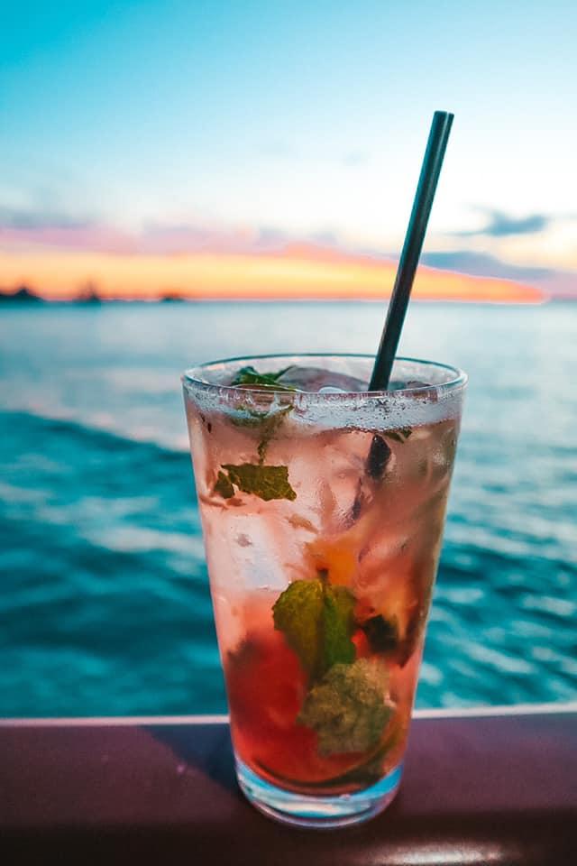 Best Beach Bar Clearwater Beach Jimmy's strawberry pineapple mojito