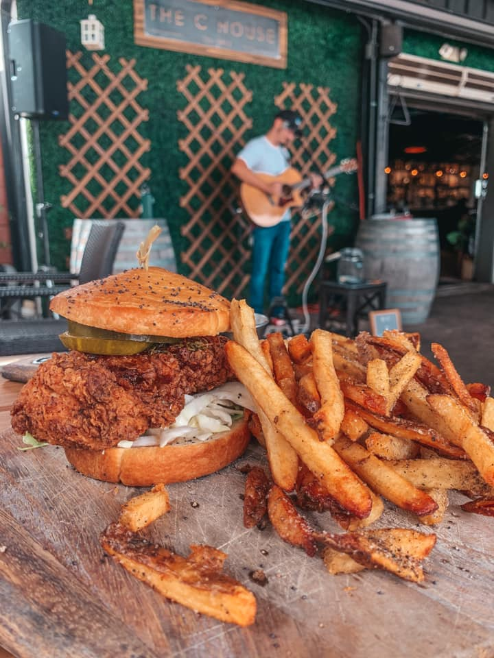 C House fried chicken sandwich with fries