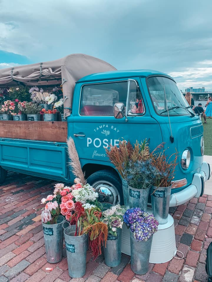 Posies Flower Truck outside of Armature Works
