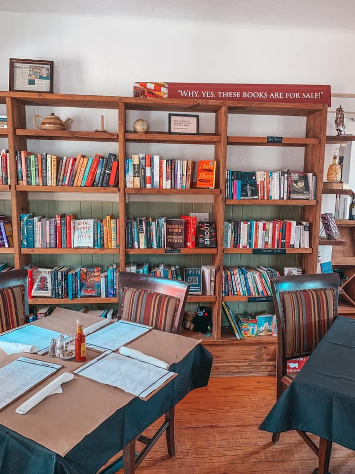 Book collection and dining area at The Reserve