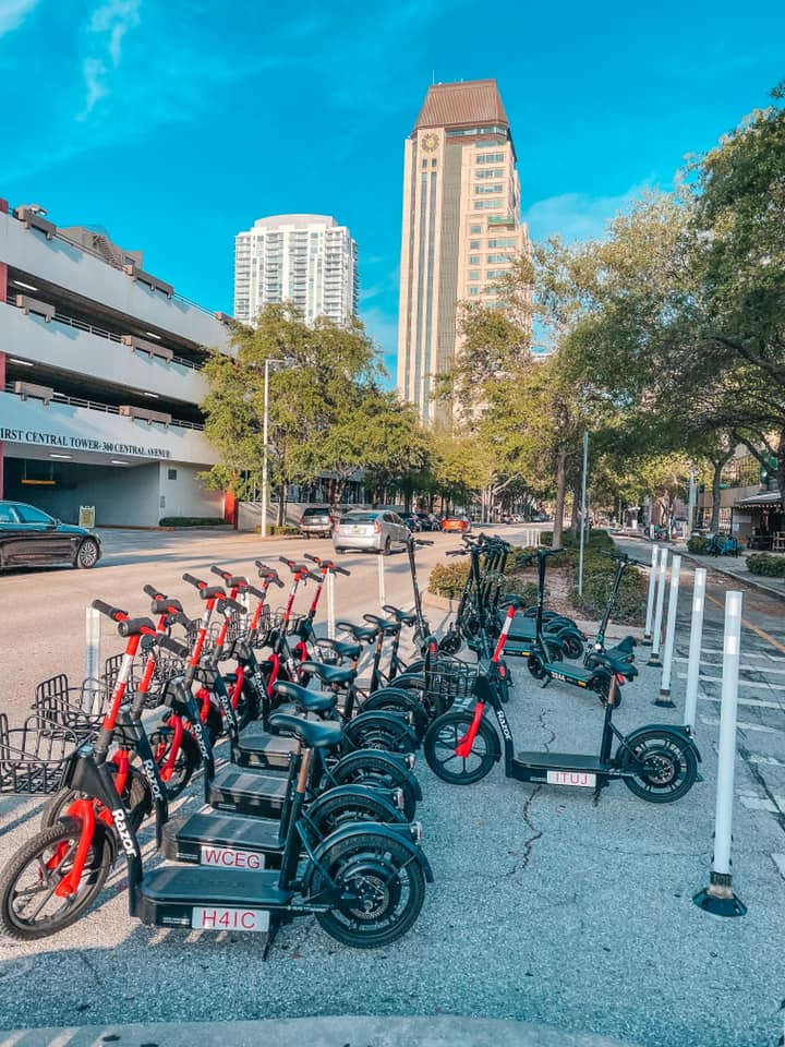 Scooter parking area in downtown St. Pete