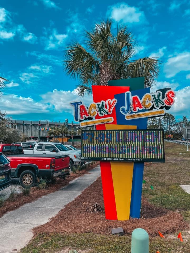 Tacky Jacks colorful sign