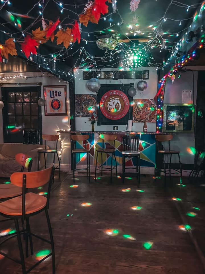 indoor area of Juke Joint with disco ball lighting