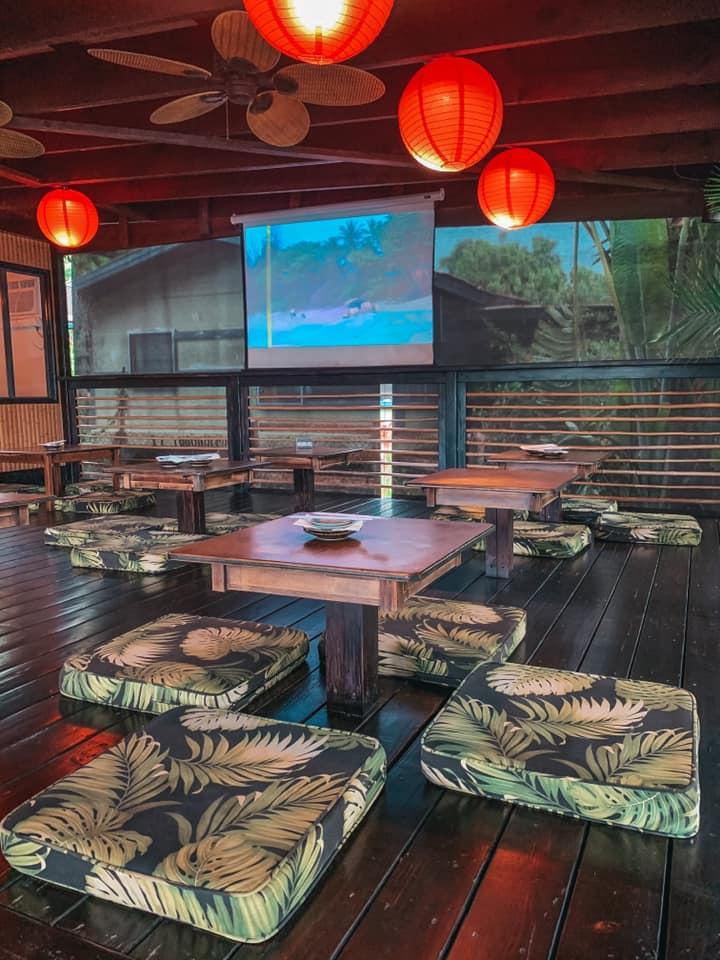 Indoor seating area of Banzai Sushi