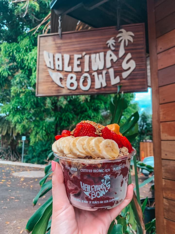 acai bowl with bananas and strawberries from Haleiwa Bowls