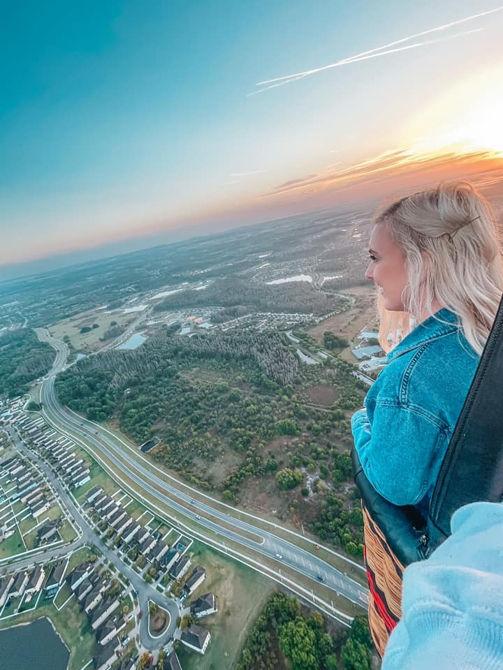 looking over Tampa Bay from the hot air balloon