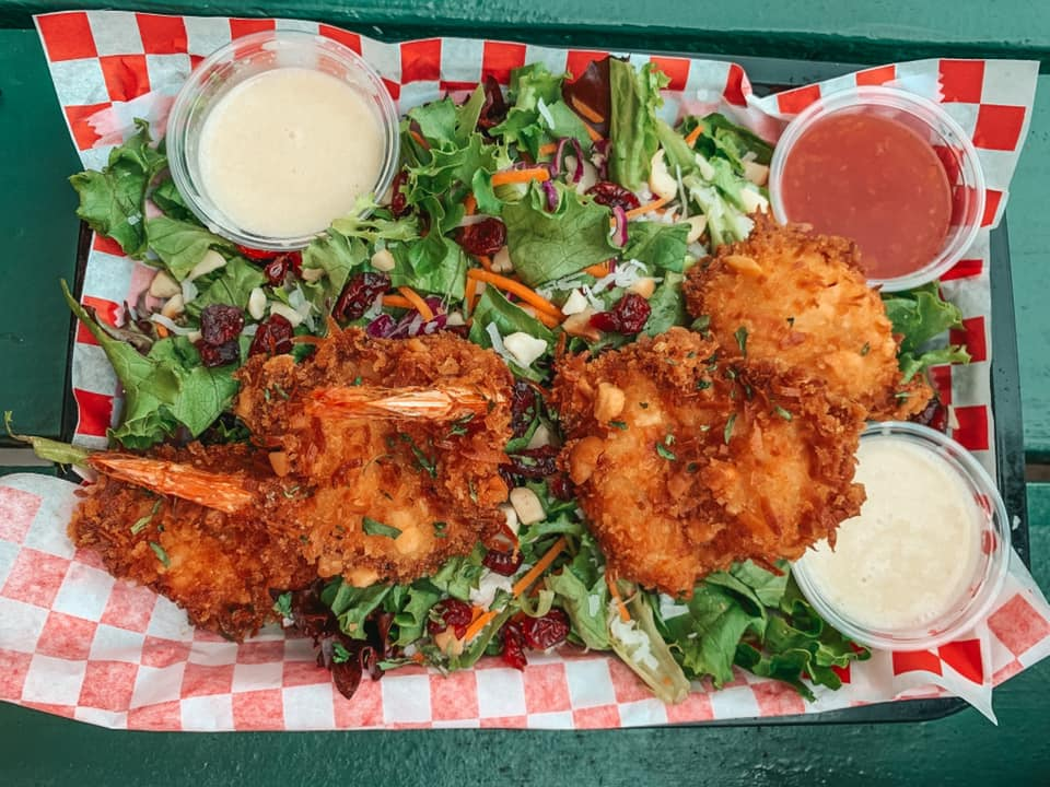 Coconut shrimp on a Polynesian salad from Seven Brothers