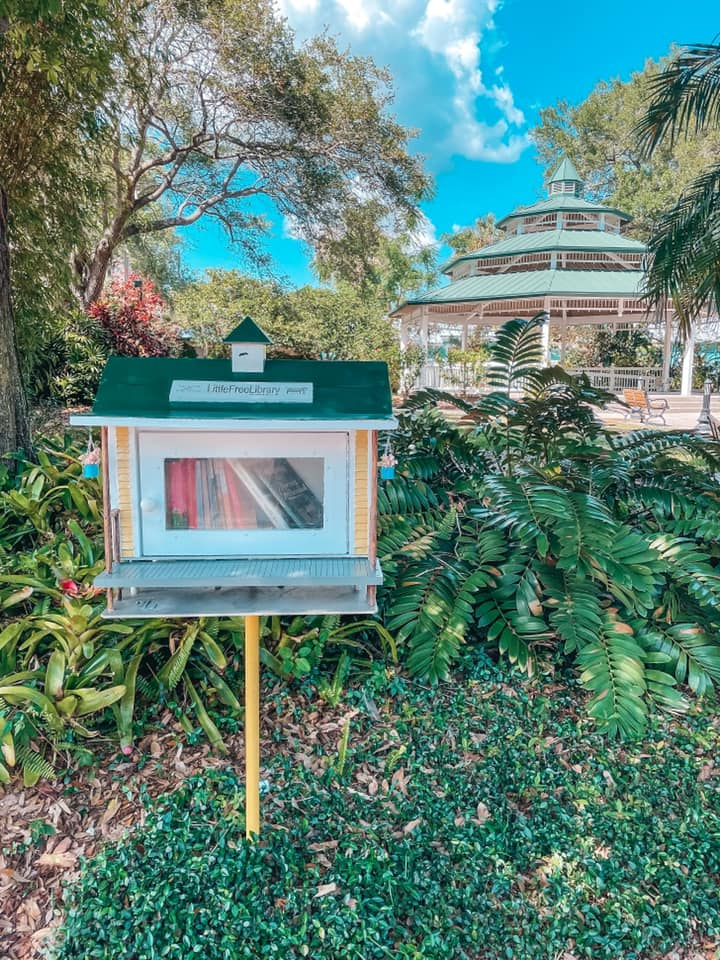 Free library on main street in downtown safety harbor