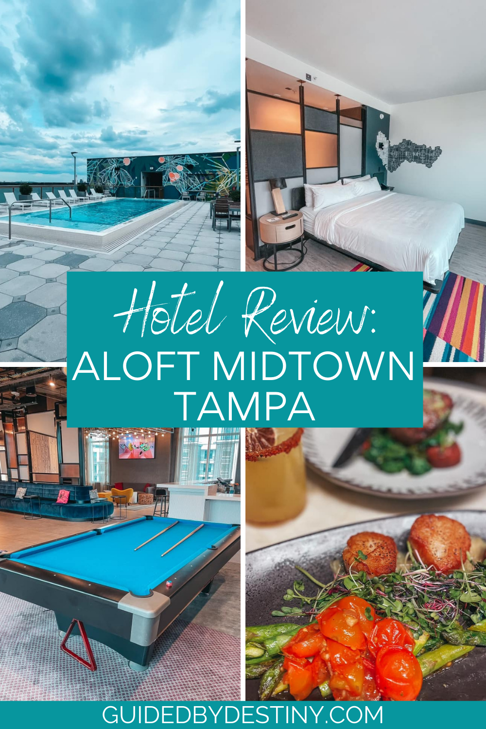 collage of amenities in Aloft Midtown Tampa hotel